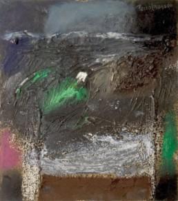 Pintura de Fernando Peiró Coronado 'Noche de invierno', medidas 25x22. Técnica mixta: óleo, spray y ceras sobre tablero preparado con arena con látex.